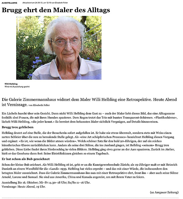 "Willi_Helbling ""Brugg ehrt den Maler des Alltags - Brugg - Aargau - Aargauer Zeitung"""